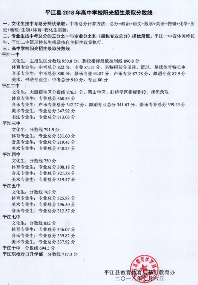 金乡一中分数线_2018平江中考分数线(平江一中、二中、三中、四中、七中、九中 ...